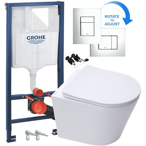 GROHE RAPID 1.13m SL 3 in 1 WC FRAME + RIMLESS WALL HUNG TOILET PAN WITH SLIM SOFT CLOSE SEAT - Includes Shiny Chrome Flush Plate