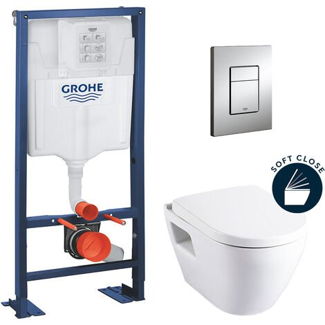 Grohe Rapid SL + Cuvette serel Solido compact/abattant frein de chute + Plaque de commande + Set isolation phonique (AutoportantSM10)