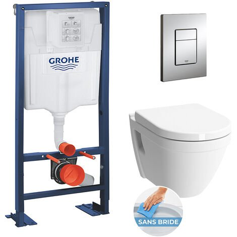 Grohe Rapid SL + S50 Cuvette RimEx/abattant frein de chute + Plaque de commande + Set d'isolation phonique (AutoportantS50)