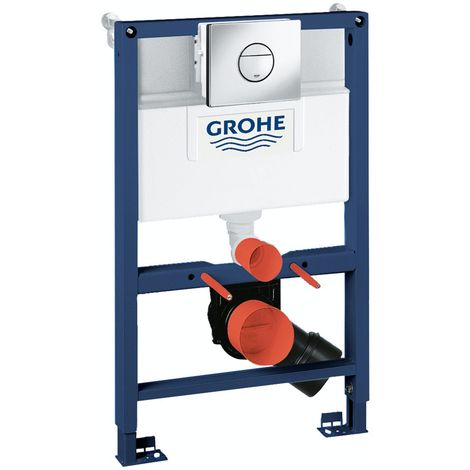 Grohe Rapid SL Set 3 in 1 wall mounting frame with round push button Nova Cosmopolitan flush plate 0.82m