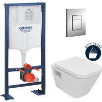 Grohe Rapid SL + WC suspendu Diagonal DG10/abattant frein de chute + Plaque de commande + Set d'isolation phonique (AutoportantDG10)