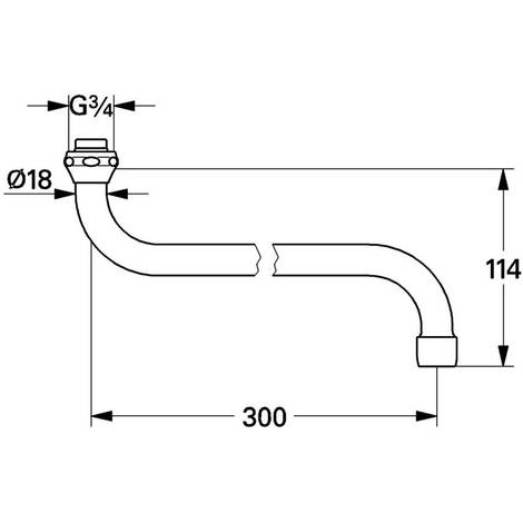 GROHE S-Auslauf 13017 Ausladung 301mm Verschraubung 3/4'' chrom