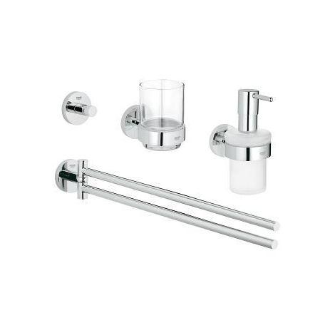 Grohe Set de salle bain 4 en 1 Essentials, Chromé (40846001)