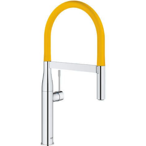 Grohe Sink battery with pull-out shower, chrome / yellow (124973)