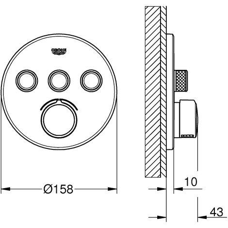 Grohe SmartControl flush-mounted mixer, three shut-off valves, round rosette - 29146000