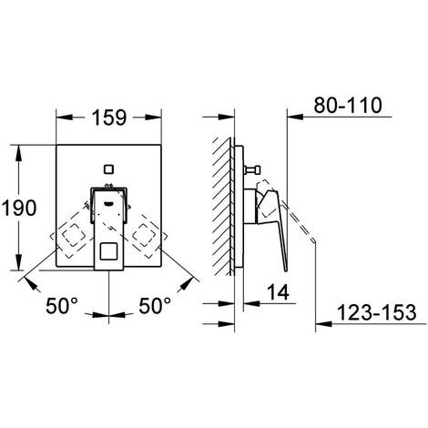 GROHE UP-Einhand-Wannenbatterie Eurocube 19896 Fertigmontageset f. Rapido E chrom