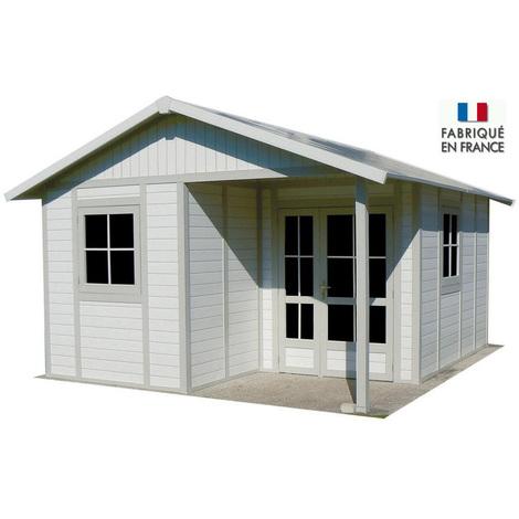Grosfillex - Abri de jardin 19,87 m² en PVC Blanc / Gris vert avec kits de fixation - DECO 20B