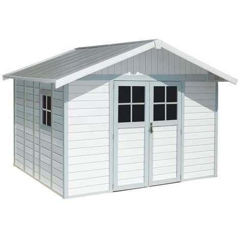 nouveau style a683d 5df5e Grosfillex - Abri de jardin Déco 11 m² en PVC Blanc / Gris bleu avec Kit de  fixation - DECO 11 BLCGBL