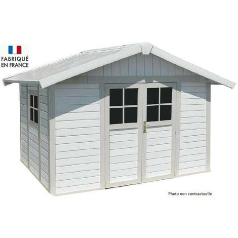 Grosfillex - Abri de jardin Déco 7,5 m² en PVC Blanc / Gris bleu avec Kit de fixation - DECO 7,5 BLCGBL