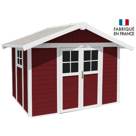 Grosfillex - Abri de jardin Déco 7,5 m² en PVC Rouge avec Kit de fixation - DECO 7,5 PMMA