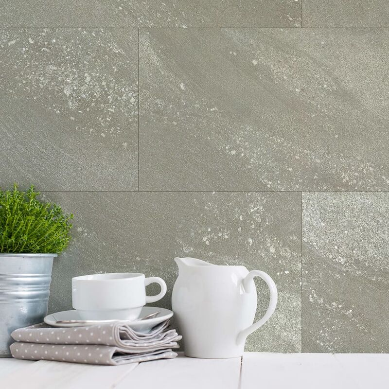 Image of Wallcovering Tile Gx Wall+ 11pcs Stone 30x60cm Greige - Grey - Grosfillex