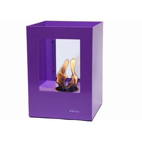 Grosse cheminée bioéthanol en acier laqué violet avec deux vitres en verre trempé thermorésistant