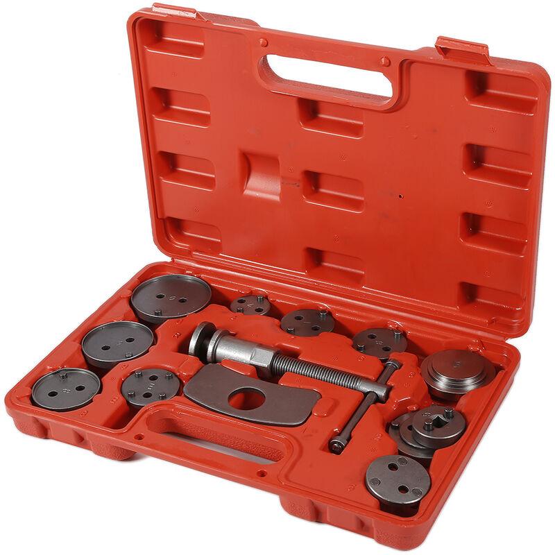 Grossiste et détaillant|32.5*25*7cm Coffret Set repousse piston d étrier de frein Kit d outils 13 pièces Rouge - Rouge-argent