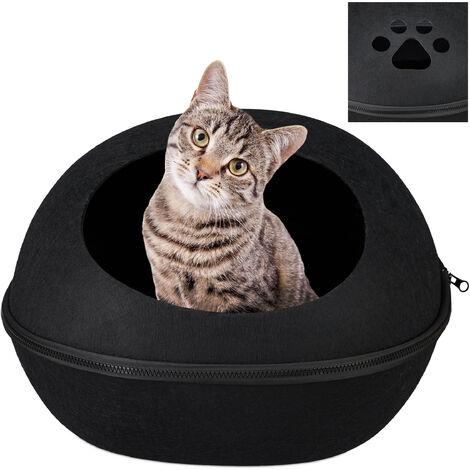 Grotte de chat en feutre,corbeille en feutre chats et chiots,ovale, coussins, Litière pour chats,noir