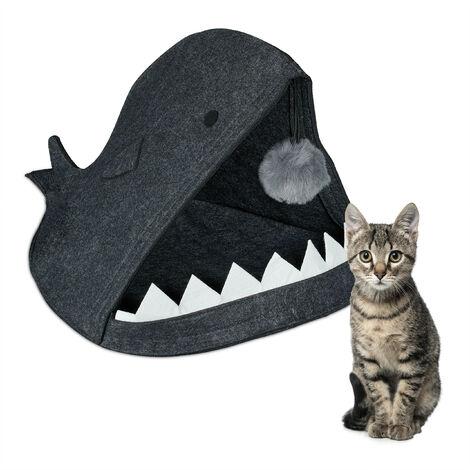 Grotte pour chat, feutre, niche rigolote, petits félins & chiens, design requin, avec balle, anthracite
