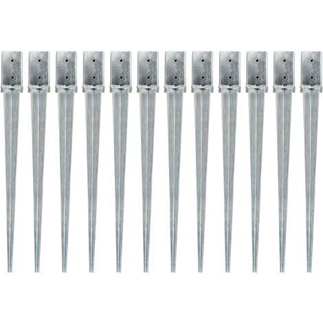 Ground Spikes 12 pcs Silver 8x8x91 cm Galvanised Steel