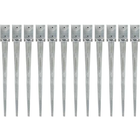 Ground Spikes 12 pcs Silver 9x9x90 cm Galvanised Steel