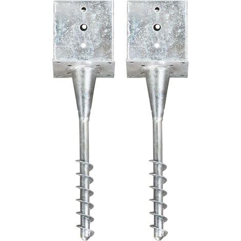 Ground Spikes 2 pcs Silver 14x14x58 cm Galvanised Steel