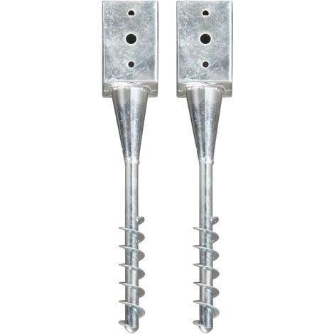 Ground Spikes 2 pcs Silver 9x9x56 cm Galvanised Steel