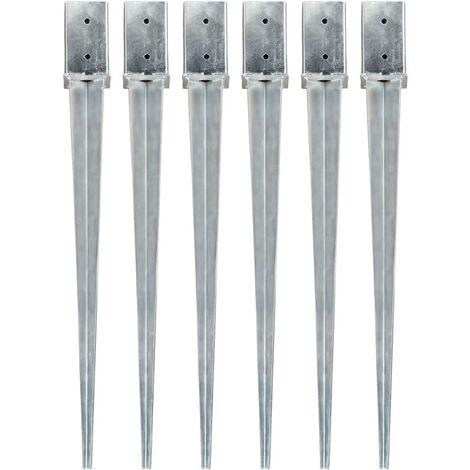Ground Spikes 6 pcs Silver 8x8x91 cm Galvanised Steel