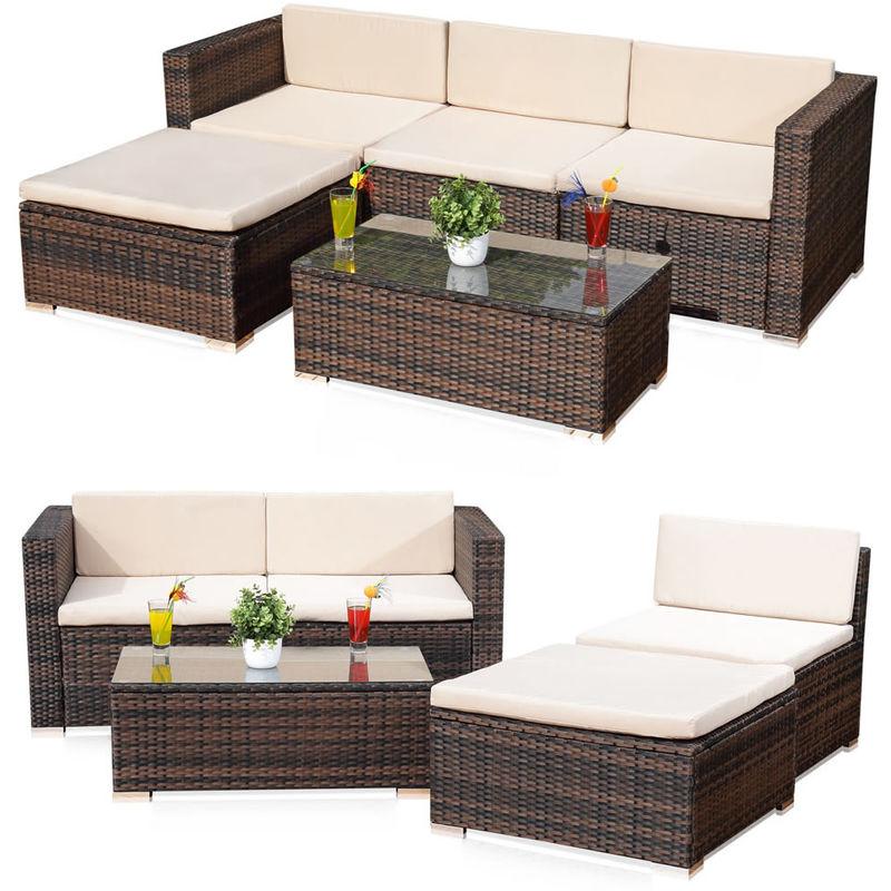 Group de 5 meuble, canapé salon de jardin avec canapé rotin table + coussin  marron