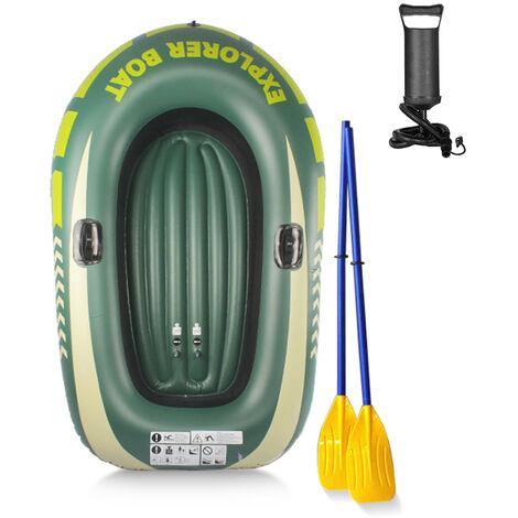 Groupe De Pompe A Aubes Gonflable Epaissie Bateau De Peche Canoe Kayak Portable En Pvc, Vert, Bateau Pour Deux Personnes