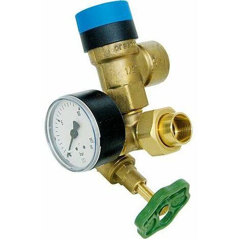 Groupe de securite chauffe-eau avec manometre 0-16 bar et soupape de securite 10 bar