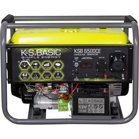 Groupe électrogène à essence KSB 6500CE, puissance maximale 5500W, démarrage manuel / électrique, puissance moteur 13 CV, affichage LED, AVR, prises 1x16A, 1x32A (230V), sortie 12V.