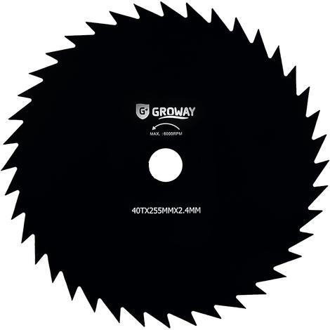 Groway - Disco de corte 40 puntas para desbrozadora, 255 x 2.4 mm