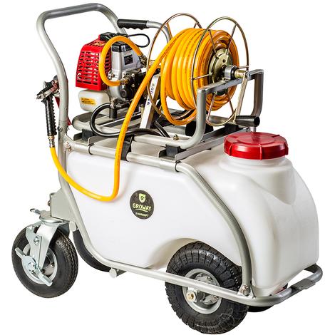 Groway GWBPAC50 - Carretilla pulverización de 26.3 cc, 50 Litros, 3-10 L/min, con enrollador