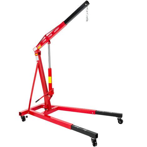 Grúa elevador para motor 2000kg, peso propio 123kg - grúa de taller desmontable, grúa con brazo de carga para motores de coche, elevador de carga ajustable - rojo
