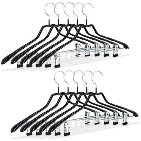 Grucce con pinze, set da 10, stampelle per completi, gommate in metallo, antiscivolo, salvaspazio, 42 cm, nero