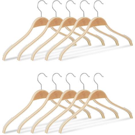 Grucce in Legno in Set da 10, con Plastica ABS Antiscivolo, Gancio Girevole a 360°, per Giacche e Camicie, 40 cm, Legno Naturale