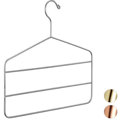 Gruccia Appendiabiti Multipla, per Pantaloni, Gonne, Sciarpe, Design Elegante, 4 mm, in Metallo, Argento