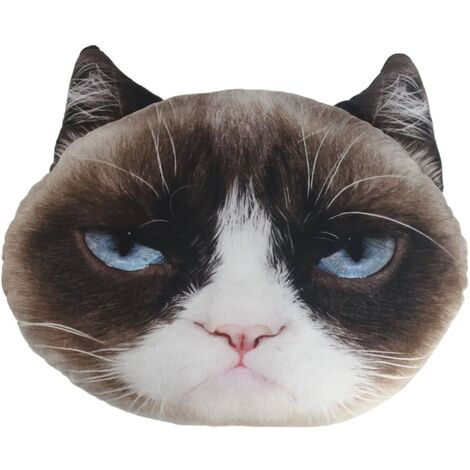 Grumpy Cat Throw Pillow Grey and White