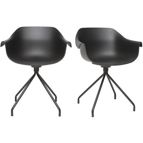 Gruppo di 2 sedie design nere con piedi in metallo COUTURE