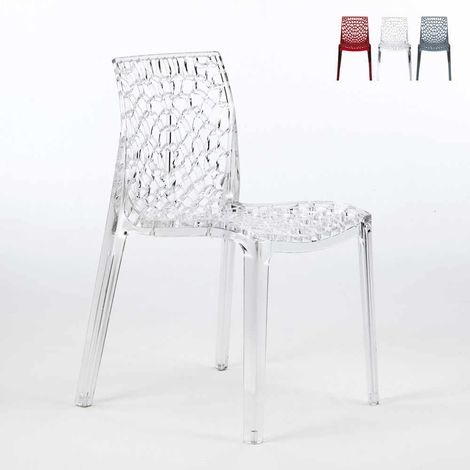 GRUVYER Stackable Chair made of Transparent Polycarbonate for Bars and Restaurants