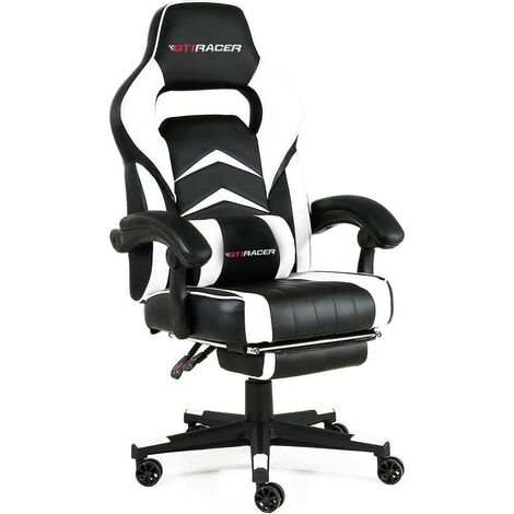 GTi RACER Turbo Gaming Racing Chair with Lumbar Support. PVC Leather Office Chair with adjustable Armrest & Recliner. Sport Seat for Ultimate Gaming Experience