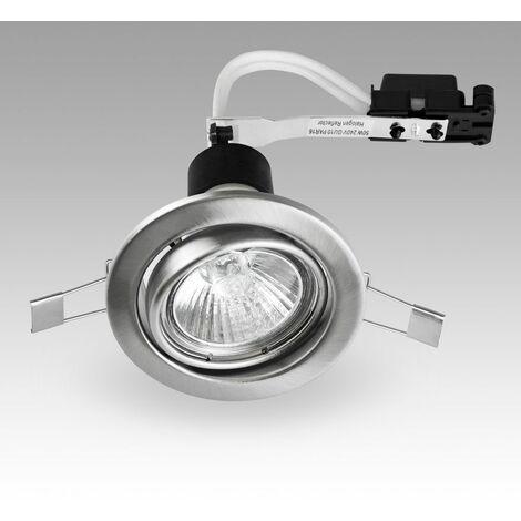 GU10 Brushed Chrome Tiltable Steel Ceiling Recessed Spotlight Downlight