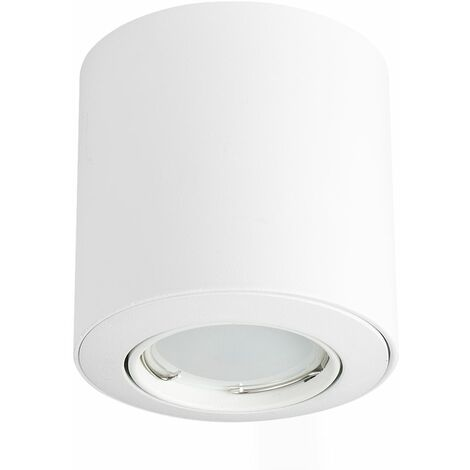 GU10 Tiltable Surface Mounted Ceiling Spotlight + GU10 LED Bulb - Cool White - White