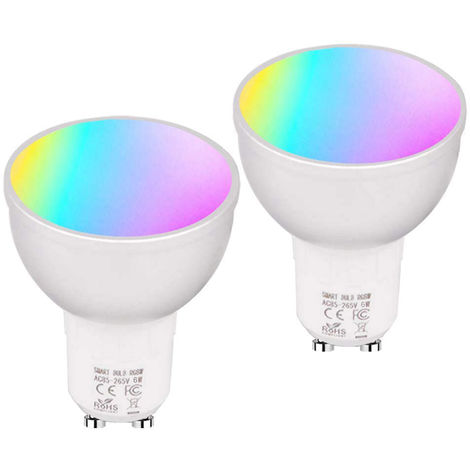 GU5.3 Bombilla inteligente WiFi, RGBW, 6W LED Lampara de lampara regulable, 4PCS