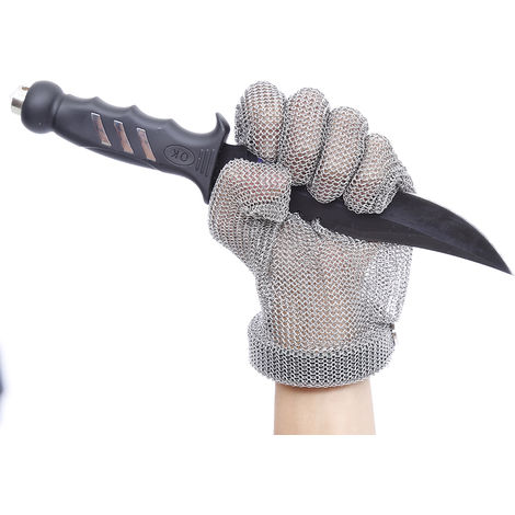 Guante de malla de acero inoxidable, resistente a cortes,XXS