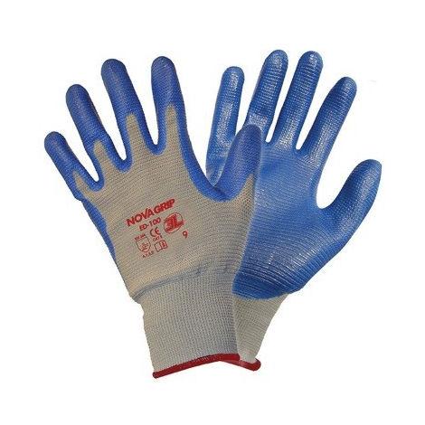 Guante de nilón sin costuras con recubrimiento de nitrilo color gris/azul 3l - varias tallas disponibles