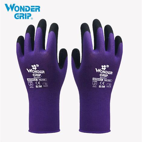 Guante de seguridad para jardineria, a prueba de abrasion,Purpura, M