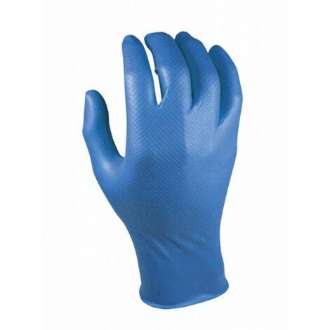 Guante Desechable L Escamado Grippaz Nitrilo Azul Juba 10 Pz