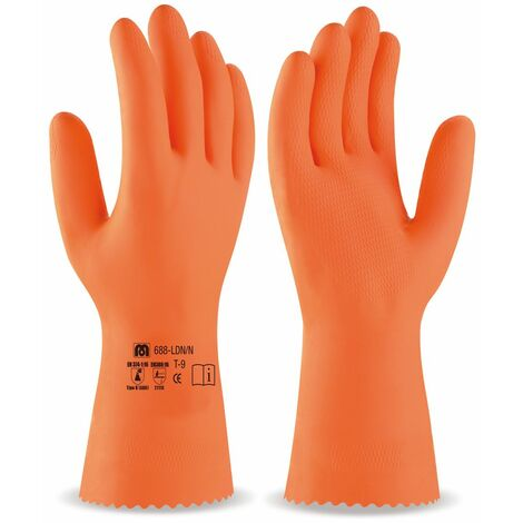 Guante Latex naranja /industrial T/9