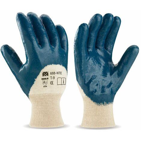 Guante Nitrilo azul d/des.so.algodon T/8