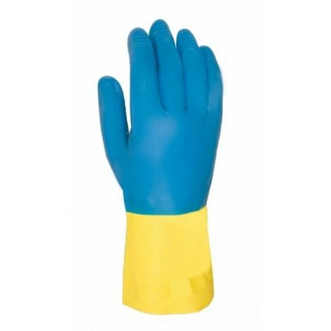 Guante Quimico S7 Natural Flocado 322 Latex/Neopreno Azul/Amarillo Juba