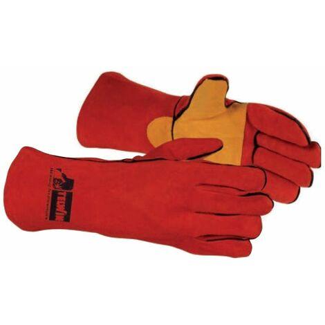 Guante soldadura serraje rojo reforzado TELWIN