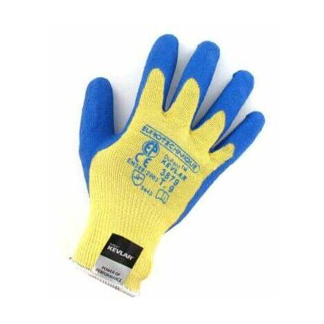 guantes de kevlar resistentes a los cortes de látex azul recubrimiento tamaño L / 9